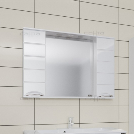 Зеркало  Санта Родос 100 со шкафчиками  свет
